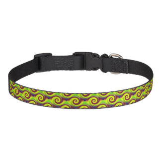 Groovy Yellow Brown Swirl Abstract Pet Collar