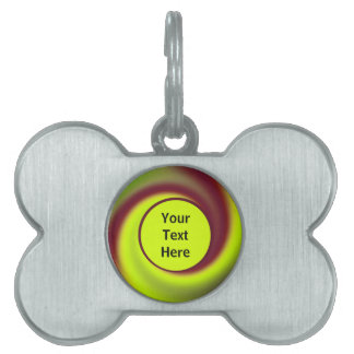 Groovy Yellow Brown Swirl Abstract Pet Tag