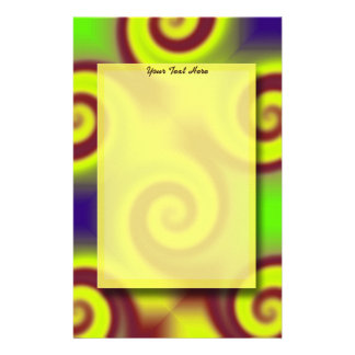 Groovy Yellow Brown Swirl Abstract Stationery