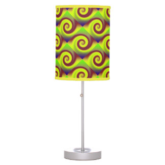 Groovy Yellow Brown Swirl Abstract Table Lamp