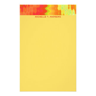 groovy yellow orange custom stationery