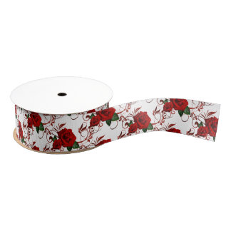 Grosgrain Ribbon-Red Roses Grosgrain Ribbon