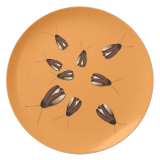 Gross Cockroaches Bugs Halloween Haunted House Plate