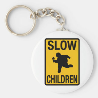 Grosse parodie de plaque de rue d'enfant d'enfants porte-clé rond