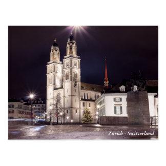 Grossmunster church in Zurich Postcard