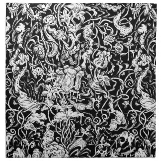 Grotesque Garden Black and White Cloth Napkins
