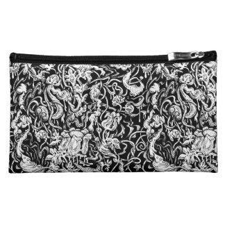 Grotesque Garden Black and White Cosmetic Bag