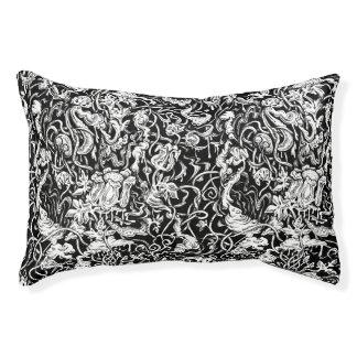 Grotesque Garden Black and White Dog Bed