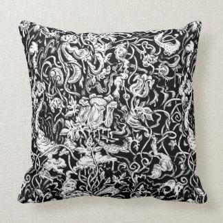Grotesque Garden Black and White Pillow
