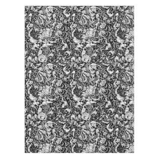 Grotesque Garden Black and White Tablecloth