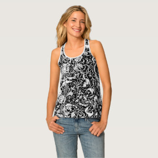 Grotesque Garden Black and White Tank Top