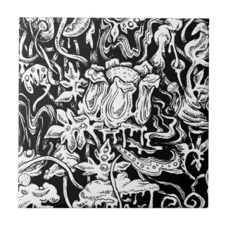 Grotesque Garden Black and White Tile