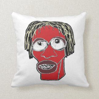Grotesque Man Caricature Illustration Throw Pillow