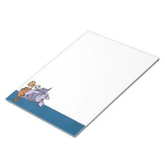 """Grouchy Bat Cat Halloween 11""""x8.5"""" Notepad"""