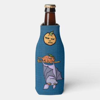 Grouchy Bat Cat Halloween Bottle Cooler