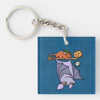 Grouchy Bat Cat Halloween (double-sided) Keychain