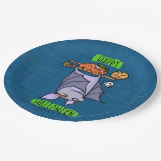 """Grouchy Bat Cat Halloween Paper Plates 9"""""""