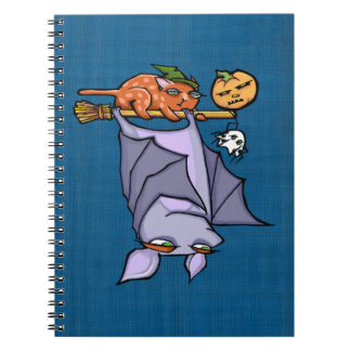 Grouchy Bat Cat Halloween Photo Notebook