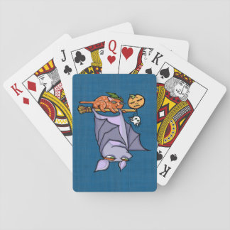 Grouchy Bat Cat Halloween Playing Cards