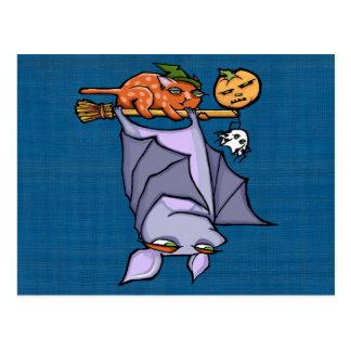 Grouchy Bat Cat Halloween Postcard
