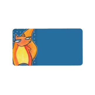 Grouchy Squirrel Birthday blue Gift Tag
