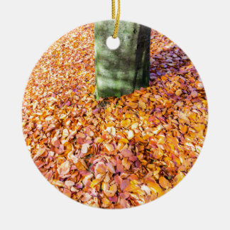 Ground around tree trunk covered with autumn leave round ceramic ornament
