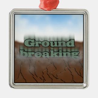 Ground breaking Silver-Colored square ornament