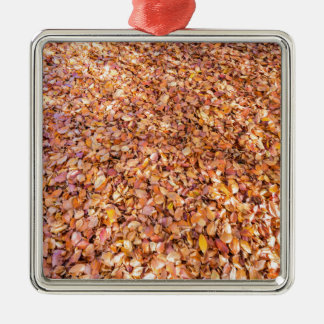 Ground covered with beech tree leaves in autumn Silver-Colored square ornament