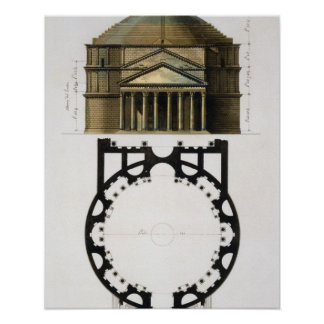 Ground plan and facade of the Pantheon, Rome, from Poster