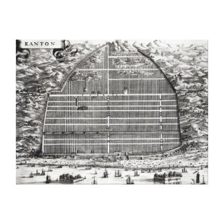 Ground Plan of Canton, China Stretched Canvas Prints