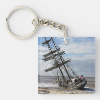 Grounded Ship Single-Sided Square Acrylic Keychain