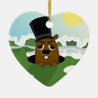 Groundhog Ceramic Heart Ornament