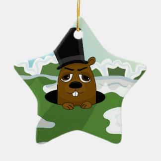 Groundhog Ceramic Star Ornament