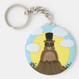 Groundhog day basic round button keychain