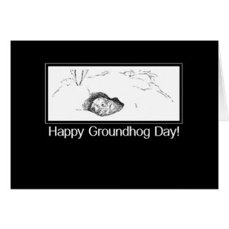 Groundhog Day Black and White Card