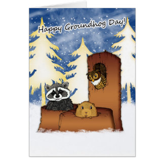Groundhog Day Card - Groundog, Racoon, Owl