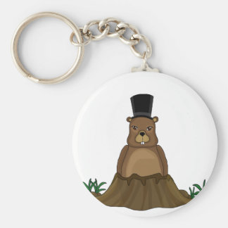 Groundhog day - Cartoon style Basic Round Button Keychain