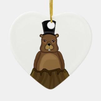 Groundhog day - cartoon style ceramic heart ornament
