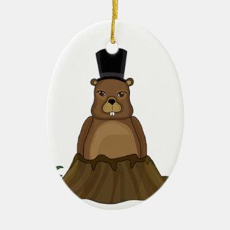 Groundhog day - Cartoon style Ceramic Oval Ornament