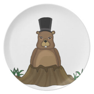 Groundhog day - Cartoon style Plate