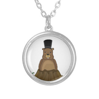 Groundhog day - cartoon style silver plated necklace