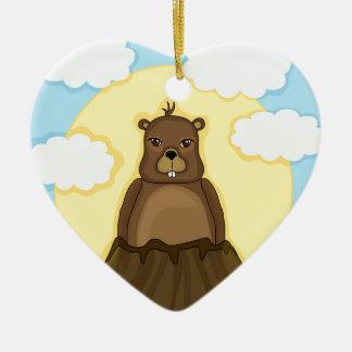 Groundhog day ceramic heart ornament