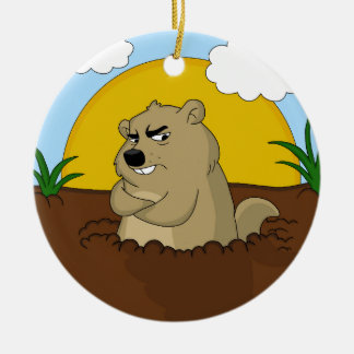 Groundhog day ceramic ornament
