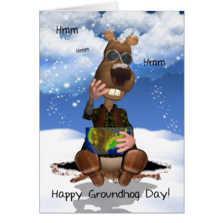Groundhog Day Greeting Card Groundhog Thinking