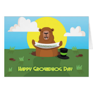 Groundhog day greeting card with groundhog holding