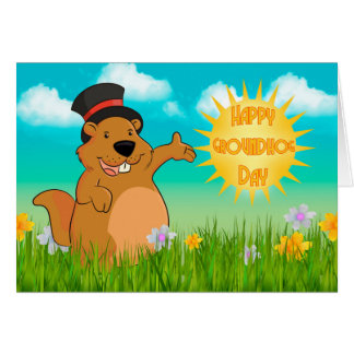 Groundhog Day Greeting Card With Spring Scenery