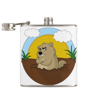 Groundhog day hip flask