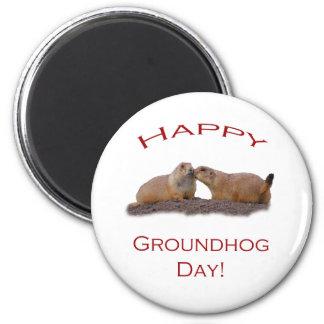Groundhog Day Kiss 2 Inch Round Magnet