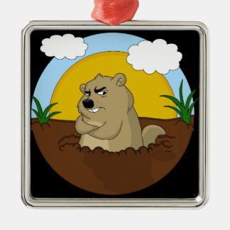 Groundhog day metal ornament
