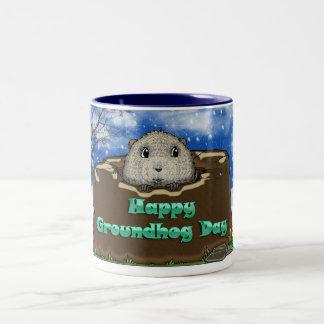 Groundhog Day Mug, With Cute Groundhog Peeping Two-Tone Coffee Mug